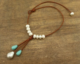 white keshi pearl necklace,blue turquoise necklace,leather cord necklace,freshwater wedding necklace,leather and pearl,pearls,ETS-S298