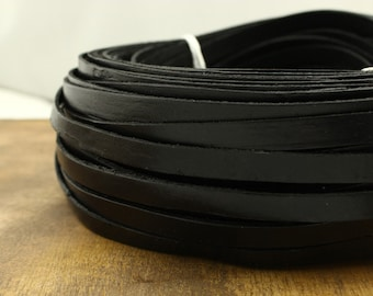 ETS-P064 black wide leather cord,10*2 mm leather cord,bracelets supply,5 yards