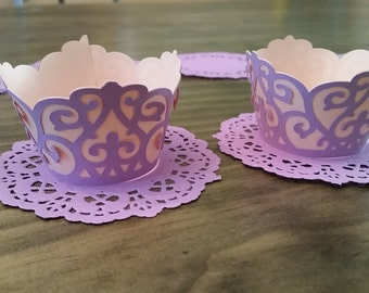 Elegant cupcake wrappers, Peach and lavender cupcake wrappers