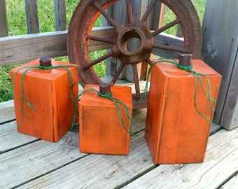Large Wooden Pumpkins - Set of Rustic Pumpkins Decor - Front Porch Fall Decor - Pumpkin Blocks - Halloween Decor - Wood Pumpkin Blocks