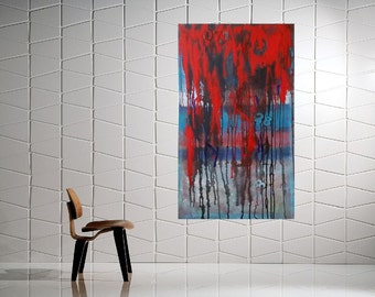 "blue shades and red  painting - landscape -  Acrylic painting - Modern Art  canvas art ""We are nature' by Veronica Vilsan"