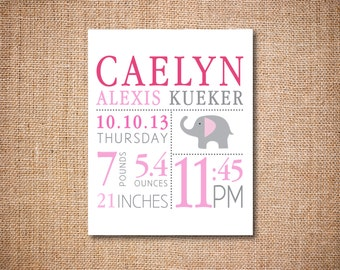 Birth Announcement Wall Art - Wall Art Print - Custom Personalized Print - Printable File