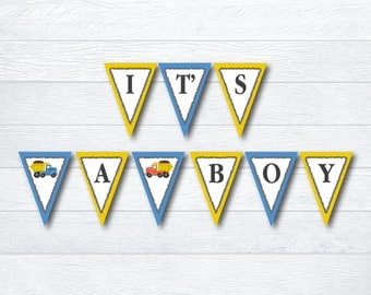 Construction Themed Baby Shower Banner - It's A Boy Baby Shower Banner - Baby Shower Decoration - Printable File