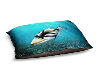 Blue Triggerfish Dog Bed by Artist Corina Bakke.