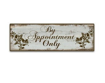 """By Appointment Only sign  Business signs Business plaques wooden signs custom signs Boutique signs 18""""x6""""x3/4""""  blue signs shop signs"""