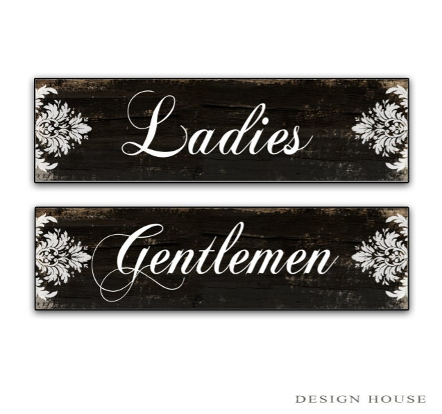 Bathroom Signs Black And White restroom signs ladies gentlemen signs bathroom signs restroom