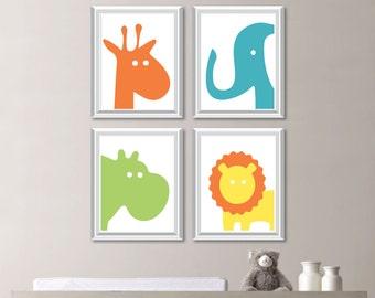 Baby Boy Nursery Art - Hippo Nursery Art - Giraffe Nursery Decor - Elephant Nursery - Zoo Animal Nursery Art - Orange Green Blue - (NS-762)