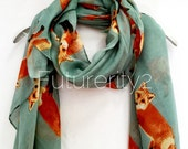 Exquisite Fox Teal Green Spring Summer Autumn Scarf  Fashion Accessories  Women Scarves  Gifts For Her