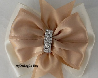 Champagne Headband Champagne  Flower Girl Champagne Wedding Champagne Bridesmaid Champagne Prom Quinceanera Champagne Toddler Bow #299