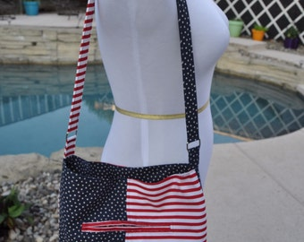 SALE --- SWOON Bonnie Bucket Hobo Bag - Patriotic Stars & Stripes America / Fourth of July / Freedom / Independence Day