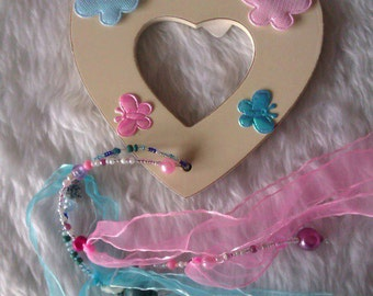 Pink & Blue Decorated Wooden Heart