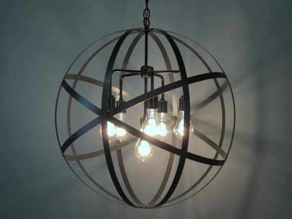 Industrial Orb Chandelier Ceiling Light Sphere 24