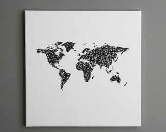 "World Map Stitched on Canvas (12""x12"" Canvas)"