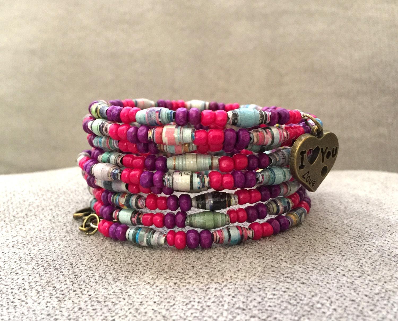 Handmade bracelet Paper bead bracelet OOAK jewelry Wire