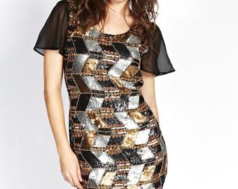 Liquorish Chevron Zig Zag Sequin Dress