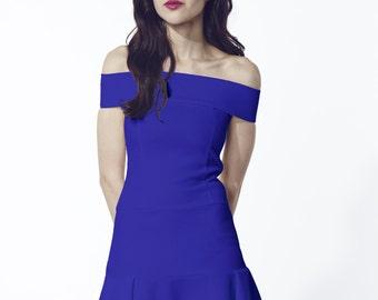 Liquorish Blue Off The Shoulder Dress