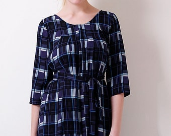 Liquorish Navy Check Tunic Dress