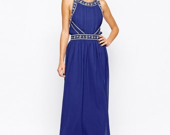 Liquorish Grecian Style Embellished Maxi Dress
