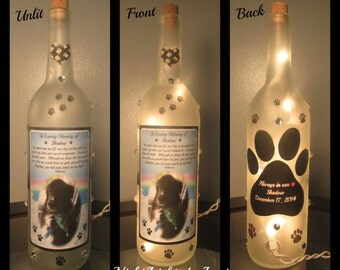 "Pet Memorial ""Paw Prints on my Heart"" Wine Bottle Night Light"