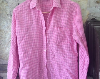 Pink Gingham Button Up Blouse