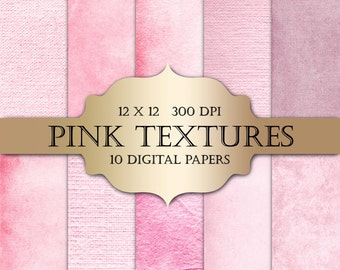 Pink Digital Paper - textured digital papers, shabby chic paper, pink grunge solid backgrounds for scrapbooking, wedding invitations, cards