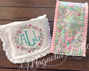 Ruffled Bib & Burp Cloth with Dainty Flower Fabric