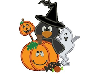 Pumpkin Crow and Ghost Halloween Applique Machine Embroidery Digitized Design Pattern  - Instant Download - 4x4 , 5x7, and 6x10
