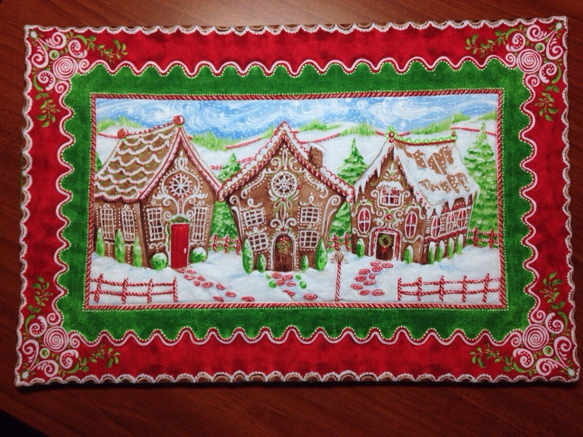 Set Of Two Gingerbread Holiday Placemats