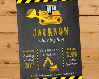 Construction Birthday Invite, Construction Birthday Invitation, Construction Birthday Party, Chalkboard, Construction Invite, Bulldozer