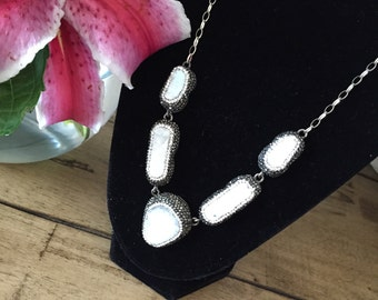 Stunning  White Druzy Quartz Necklace
