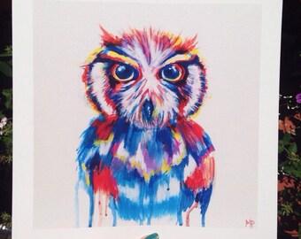 Owl Art, Owl Print, Owl Painting, Original multicolor owl print, Drip Painting, Gift