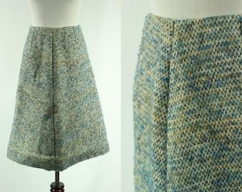 60s Teal Wool Knit High-waisted A-line Skirt