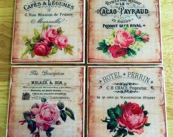 "4"" x 4"" Vintage Floral Ad Ceramic Coasters (Set of 4) - Drink Coasters - Home Decor"