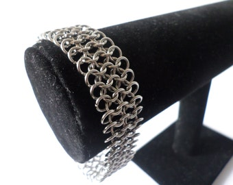 Stainless Steel Fine Chainmail Bracelet - European Mithril Weave - Womens Chainmaille Jewelry