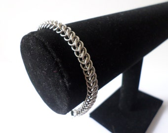 Stainless Steel Fine Chainmail Bracelet - Half Persian Weave Chainmaille Women's Chainmaille Jewelry