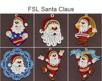 FSL Santa Claus - Free Standing Lace Machine Embroidery Designs Instant Download 4x4 hoop 10 designs SHE1622
