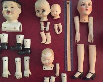 Vintage Ceramic Doll Parts