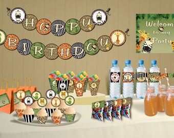 Safari theme birthday – Jungle party theme DIY Printable Package  - zoo birthday Party - Instant Download