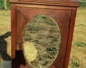 Vintage Carved Wood medicine Apothecary Cabinet Beveled Glass mirror Hobnails
