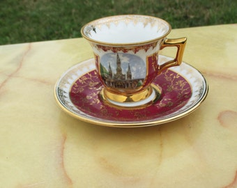 Vintage Limoges France Gilded small cup & Saucer Cathedral Rob's Limoges