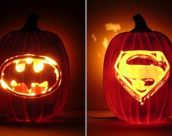 "BATMAN 1989 / SUPERMAN 1978 - Movie Logos (Hand-Carved Foam Pumpkin 12"")"