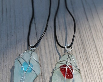 Local Sea Glass Pendant Necklaces Red or Blue Detail, Pendant Necklace, Seaglass Necklace, Adjustable Necklace