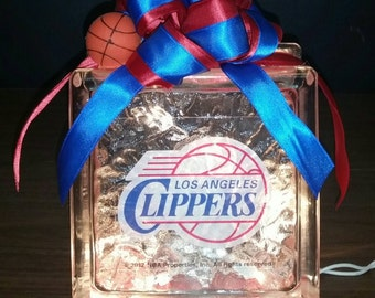 LOS ANGELES CLIPPERS Basketball Lighted Glass Block Nightlight and Decoration