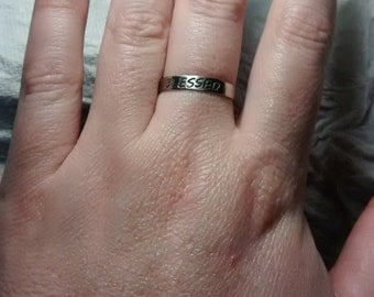 Blessed Be Ring - Stackable Width - Nickel - Pagan - Wiccan