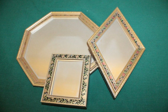 Four set of four small ornate gold mirrors with decorative for Small gold framed mirrors