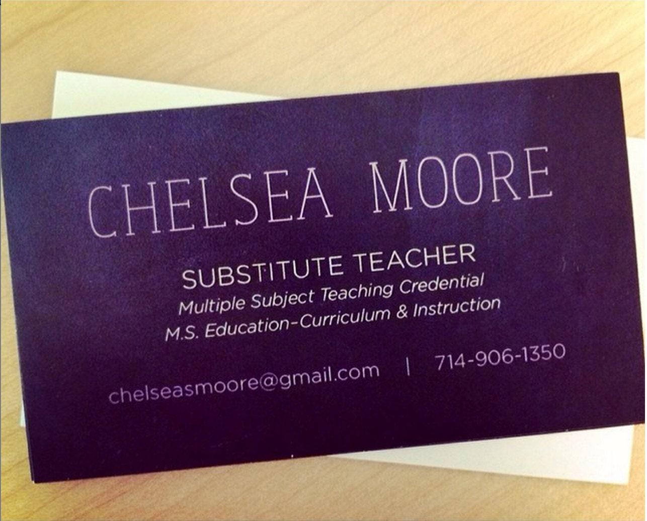 teacher substitute teacher or tutor chalkboard business card