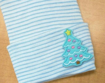 Newborn Hospital Hat! Blue and White Striped hospital hat topped off with a blue Christmas Tree applique! Baby's 1st Keepsake! Great Gift!