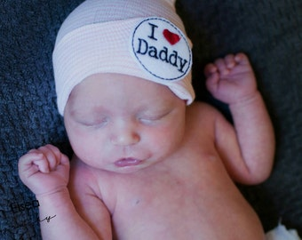 Newborn Beanie Hat. SURPRISE DADDY at Hospital with an I Love Daddy Baby Beanie! Choice of Hat Colors. Perfect Gift! Baby's 1st Keepsake!