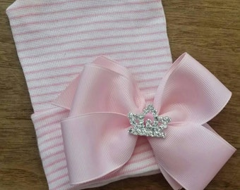 Newborn Hospital Hat. Baby's 1st Keepsake! Hat with Light Pink Bow and Rhinestone Tiara Because Every Baby Girl is a PRINCESS!