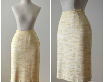 Marigold | Vintage 50s Yellow & White Pencil Skirt | 1950s Wiggle Skirt